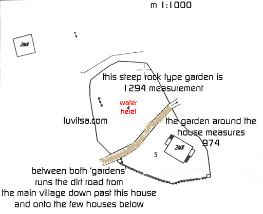 Skitza of document of the plan of the stone house and garden