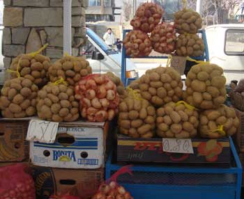 potatoes for sale Kardjali town centre market