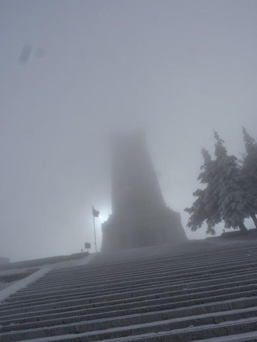 the spooky scene at the Bulgarian war memorial at Shipka